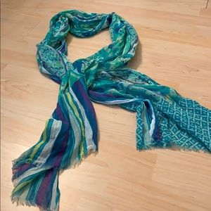 JJill green blue and purple lightweight scarf